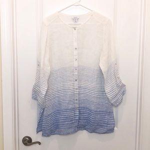 Kenar White Blue Linen Button Down Shirt Large